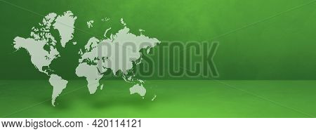 World Map Isolated On Green Wall Background. 3d Illustration. Horizontal Banner