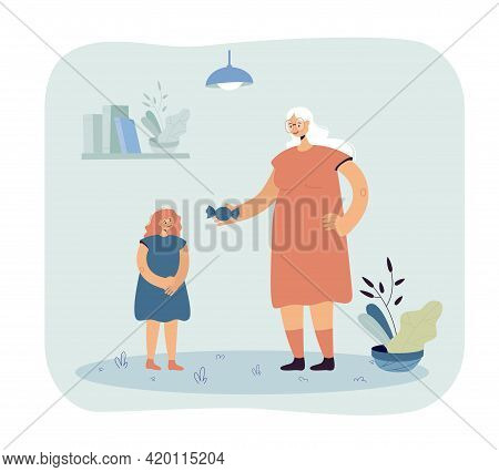 Grandmother Mother Giving Candy To Daughter. Female Cartoon Character Rewarding Child With Sweets Fl