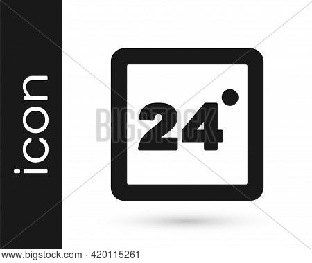 Black Thermostat Icon Isolated On White Background. Temperature Control. Vector