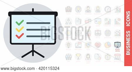 Business Planning Conceptual Icon. Presentation Billboard Icon With To-do List Or Checklist. Simple