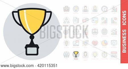 Award Cup, Winner Cup Or Champion Cup Icon. Business Success Concept. Simple Color Version From A Se