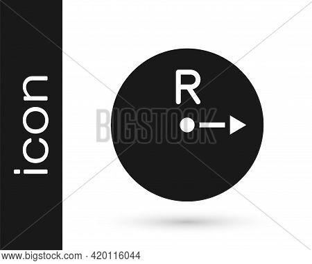 Black Radius Icon Isolated On White Background. Vector