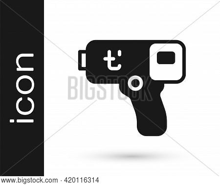 Black Digital Contactless Thermometer With Infrared Light Icon Isolated On White Background. Vector