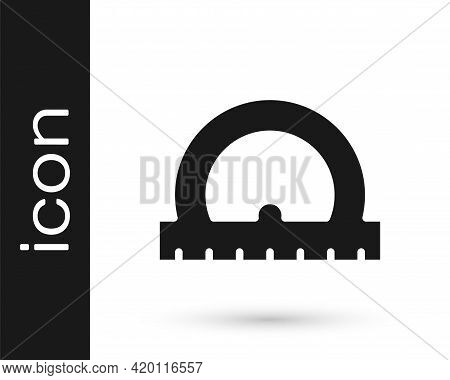 Black Protractor Grid For Measuring Degrees Icon Isolated On White Background. Tilt Angle Meter. Mea