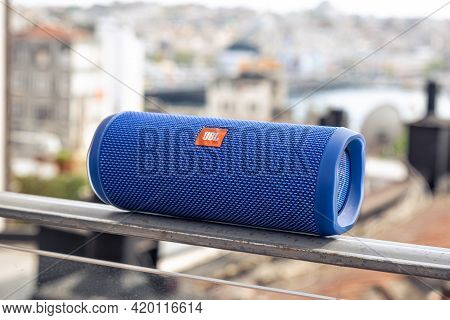 Istanbul, Turkey - May, 2021: Jbl Bluetooth Music Speaker Outdoor Marco Close Up