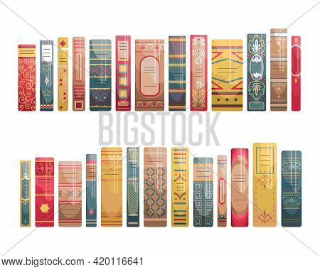 A Set Of Flat Spines Of Books In Retro Style, Classic Editions.