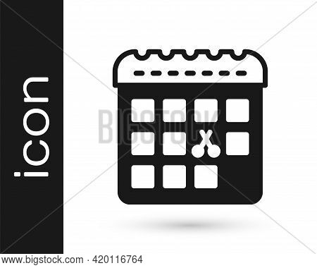 Black Calendar With Haircut Day Icon Isolated On White Background. Haircut Appointment Concept. Vect