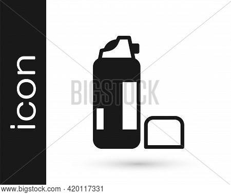 Black Shaving Gel Foam Icon Isolated On White Background. Shaving Cream. Vector