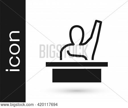Black Active Male Kid Raising Hand Answering To Teacher Question Icon Isolated On White Background.