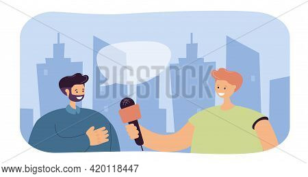 Reporter Interviewing Man On Street. Journalist Holding Microphone, Male Character Giving Interview