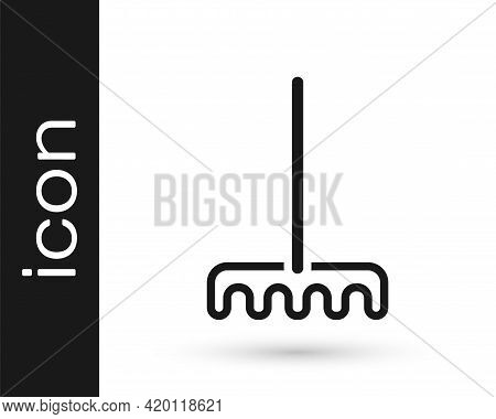 Black Garden Rake Icon Isolated On White Background. Tool For Horticulture, Agriculture, Farming. Gr