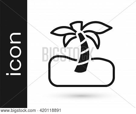 Black Tropical Palm Tree Icon Isolated On White Background. Coconut Palm Tree. Vector