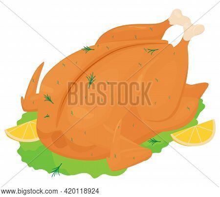 Whole Stuffed Fried, Roasted Chicken With Orange Crispy Crust, Cartoon Vector Illustration Isolated