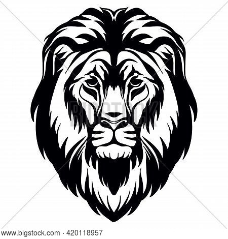 Mascot. Head Of Lion. Vector Illustration Black Color Front View Of Wild Cat Isolated On White Backg