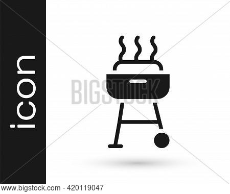 Black Barbecue Grill Icon Isolated On White Background. Bbq Grill Party. Vector