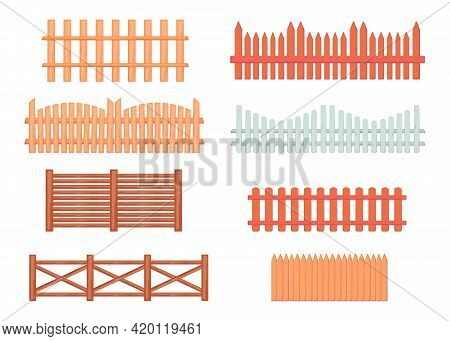 Vintage Wooden Fences Vector Illustrations Set. Collection Of Brown And White Gates From Wood Or Tim