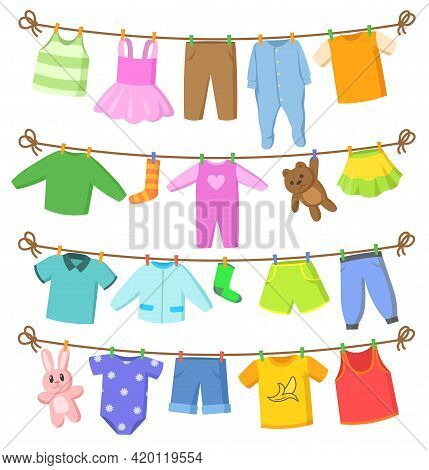 Set Of Colorful Baby Clothes And Toys. Cartoon Vector Illustration. Clotheslines, Ropes With Clean,