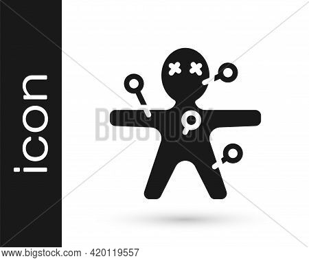Black Voodoo Doll Icon Isolated On White Background. Happy Halloween Party. Vector