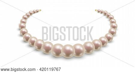 Pearl Necklace Isolated. Pink Pearl Beads On Shite Background. Elegant Jewelry Accessory. Vector Ill