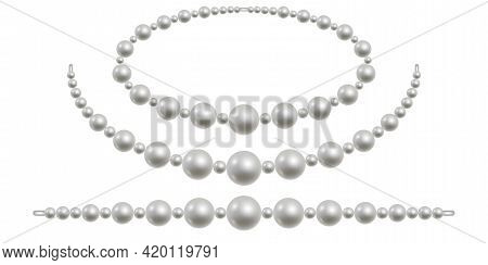Pearl Necklace Isolated. White Pearl Beads For Jewelry Design. Precious Nacre Gemstones. Vector Illu