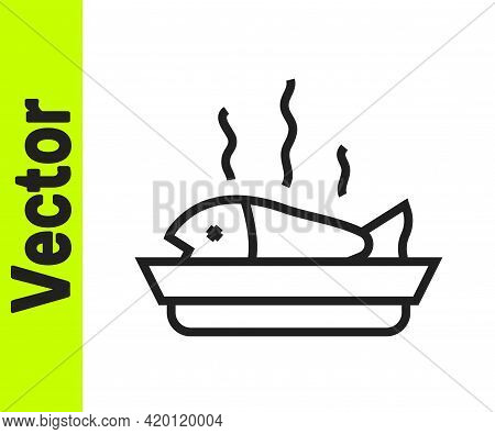 Black Line Served Fish On A Plate Icon Isolated On White Background. Vector