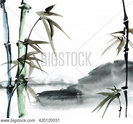 Chinese Landscape With Bamboo And Mountains. Oriental Traditional Painting In Style Sumi-e, Gohua An