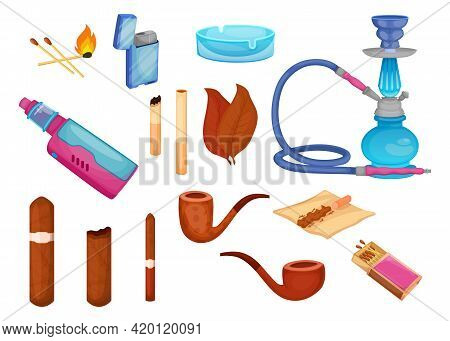 Tobacco And Cigars Vector Illustrations Set. Collection Of Harmful Drugs, Nicotine, Hookah, Vape, Ma