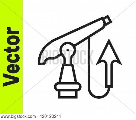 Black Line Fishing Harpoon Icon Isolated On White Background. Fishery Manufacturers For Catching Fis