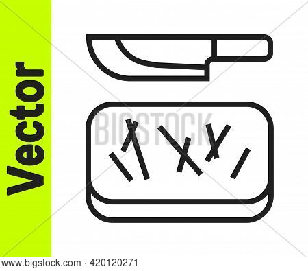 Black Line Cutting Board And Knife Icon Isolated On White Background. Chopping Board Symbol. Cutlery
