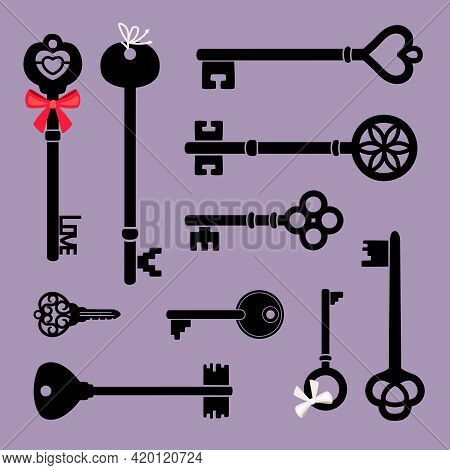 Decorative Key Icons. Cartoon Silhouettes Of Medieval Elements For Door, Retro Elements Access Of Ho