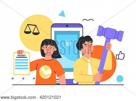 Students Studying Jurisprudence, Learning Digital Law, Legal Protection Course. Flat Abstract Metaph