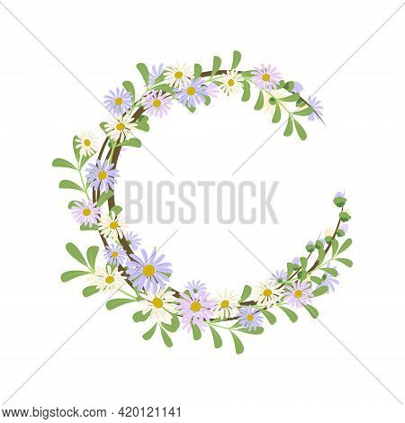 Daisy Wreath. Round Frame, Cute Purple And White Flowers Chamomile With Yellow Hearts. Festive Decor