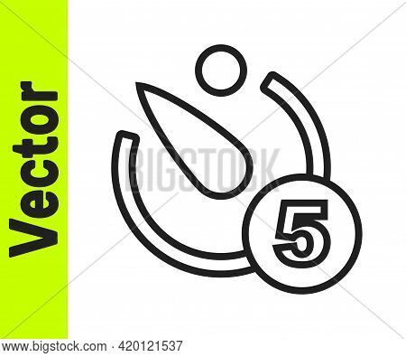 Black Line Camera Timer Icon Isolated On White Background. Photo Exposure. Stopwatch Timer 5 Seconds