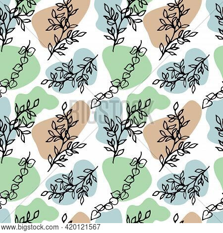 Doodle Style Branches On An Abstract Background. Vector Seamless Pattern With Abstract Sea Pebbles B