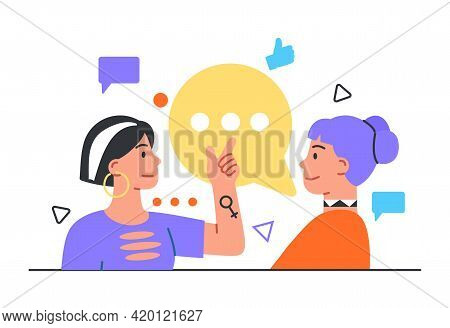 Woman Say Her Friend New Gossip. Smiling Women Spending Time Together. Flat Abstract Metaphor Outlin