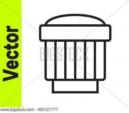Black Line Camera Photo Lens Icon Isolated On White Background. Vector