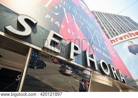 KUALA LUMPUR, MALAYSIA - CIRCA JANUARY, 2020: Sephora sign as seen on a building in Kuala Lumpur in the daytime.