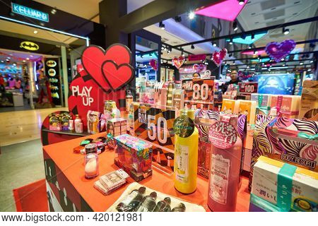 KUALA LUMPUR, MALAYSIA - CIRCA JANUARY, 2020: personal care products on display in PLAY UP at Fahrenheit 88 shopping center in Kuala Lumpur.