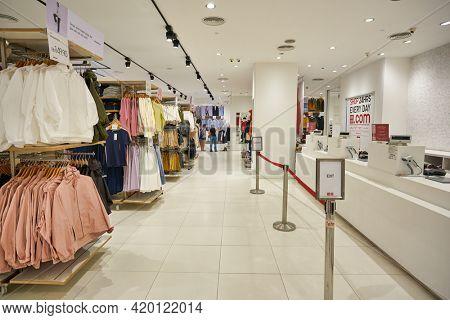 KUALA LUMPUR, MALAYSIA - CIRCA JANUARY, 2020: interior shot of Uniqlo store in Kuala Lumpur.