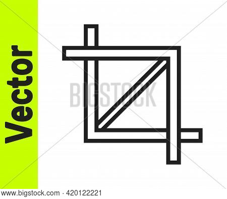 Black Line Picture Crop Photo Icon Isolated On White Background. Vector