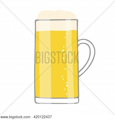Beer In Glass Mug With Foam And Bubbles. Beer Mug Isolated On White Background. Oktoberfest Backgrou