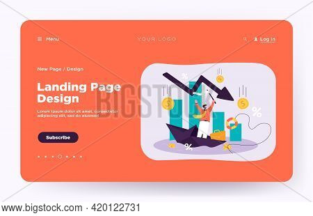 Upset Tiny Man Asking For Help Because Of Business Failure Flat Vector Illustration. Cartoon Busines