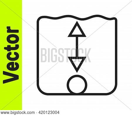 Black Line Depth Measurement Icon Isolated On White Background. Water Depth. Vector