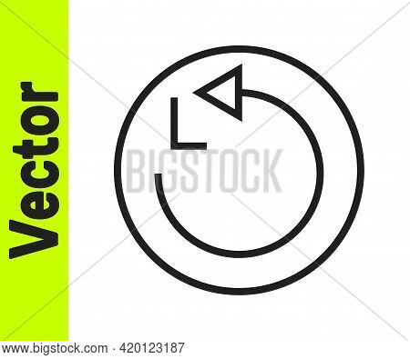 Black Line Radius Icon Isolated On White Background. Vector