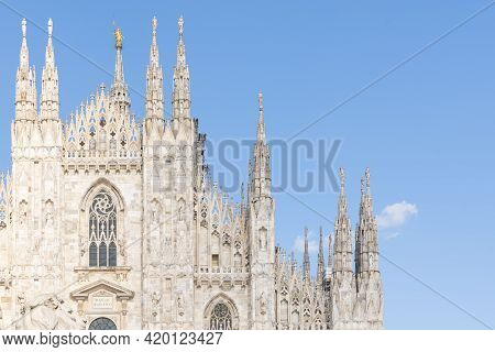 Details Of Duomo With The Golden Statue Name