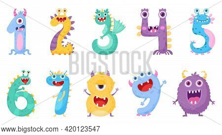 Set Of Funny Cute Monster Numbers In Cartoon Style. Vector Illustration On White Background.