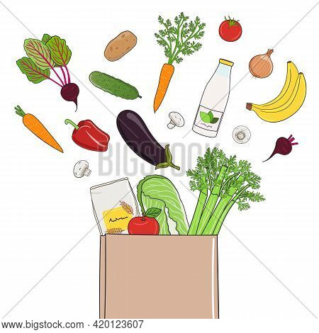 Fresh Food Delivery Concept. Vegetables And Fruits In Paper Bag. Organic Market And Healthy Food. Ha