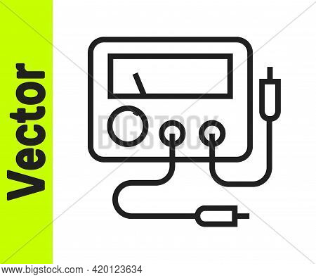 Black Line Ampere Meter, Multimeter, Voltmeter Icon Isolated On White Background. Instruments For Me