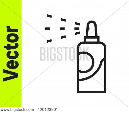 Black Line Spray Can For Hairspray, Deodorant, Antiperspirant Icon Isolated On White Background. Vec