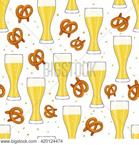 Beer Seamless Pattern. Beer Glasses And Pretzes On White Background. Illustration In Flat Vector Des